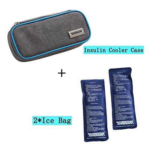 Risingmed Tragbare Insulin Kühltasche, Insulin-Kühler für Medizin-Kühltasche mit + 2Kühlakkus, medizinische Kühltasche Diabetiker Organizer Oxford-Stoff 8.27*3.94*1.77 inches blau