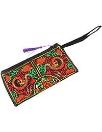 TOOGOO(R) Cartera de Las Mujeres de Bordado Bolso del Embrague de telefono movil Monedero - Doble Dragones