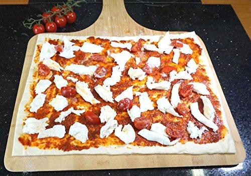 XXL Bambus Pizzaschieber - Pizzaschaufel für Familienpizzen und mehr (38x30cm Arbeitsfläche)