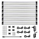 LEDGLE 6er-Pack Unterbauleuchte LED Schrankleuchte mit Stecker 12V DC ultra dünne Vitrinenbeleuchtung Energiesparende Küchenlampen einzeln oder im Verbund nutzbar alle Zubehör enthalten
