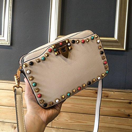 Mini farbe nieten Türkis kleine quadratische tasche multi-fach-trennwand Schulter messenger bag Beige