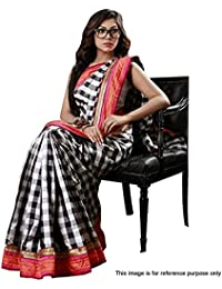 Harikrishnavilla Women's Cotton Silk Saree With Blouse Piece (New Eyeglass Saree, Black, Free Size)