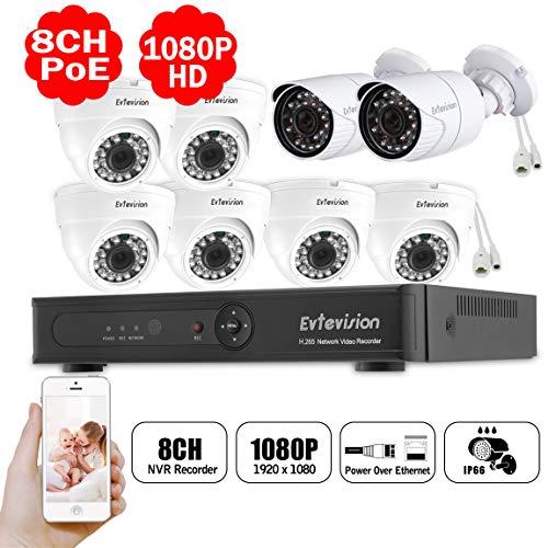 Evtevision 1080P POE Überwachungssystem,8CH Überwachungskamera Set System 8CH 1080P H.265 NVR mit 2X Bullet+6X Dome PoE IP66 Kamera Set für Haus, Innen, Außen,Plug & Play CCTV Videoüberwachung