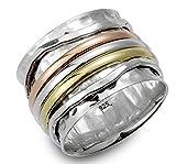 "Energy Stone ""ELEGANZ"" klassischer, dreifarbiger Drehring auf einem in gehämmerter Optik sterlingsilber Basisring (Style# UK07) (54 (17.2))"