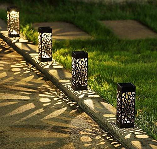 Hpybest 5 Stück/Set Home Garten LED Licht Outdoor Solar Rasen Lampe Landschaftsbeleuchtung Wegpfahl Spot Lampe Hollow Out LED Straßenbeleuchtung - Outdoor-licht-set