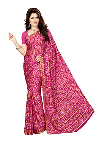 Rani Saahiba Crepe Saree with Blouse Piece (SKR3563_Rani_One Size)