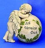 """Grabschmuck Engel """" Ich vermisse Dich """" 19 cm x 19 cm steht an Kugel"""