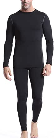 Arcweg Thermal Underwear Set Men Fleece Lining Breathable Base Layer Elastic Soft Long Sleeve Long Johns Running Compression Suits Winter Warm Tops and Trousers for Skiing Hiking Camping