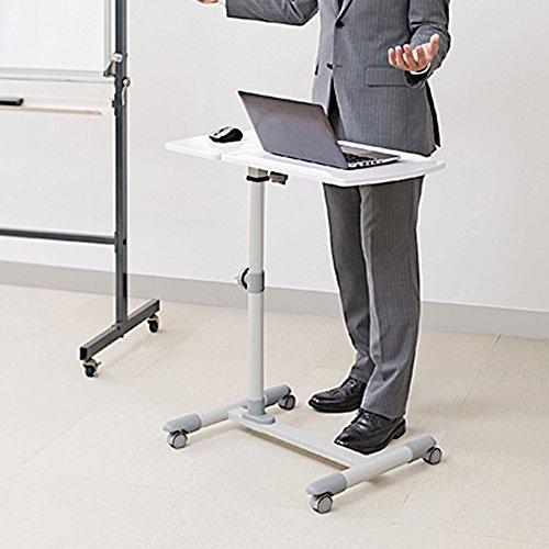 PENGFEI Laptop Betttablett Tragbare Stehende Schreibtisch-Laptop-Computer-Stände Multifunktion Metall Zusammenklappbar Tischhöhe Einstellbar Mit Riemenscheibe Nachttisch 2 Farben 70,5 X 40 CM ( Farbe : Weiß )