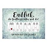 Große XXL Design Geburtskarte zur Geburt/Zwillinge/mit Umschlag/A4/2 Mädchen - Zwillingstöchter/Baby geboren/Grußkarte zur Gratulation Eltern