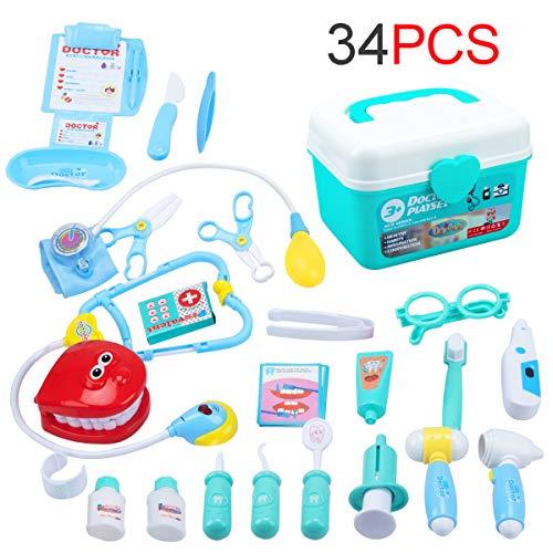 EFO SHM Arztkoffer Arzt Spielzeug Kinderarztkoffer Dentist Doktor Set Medizinische Kit Lernspielzeug Kinder Rollenspiele 34-teilig (Arzt Spiel)