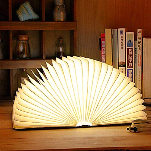 JHSHENGSHI LED Nachtlicht für Kinder, Leuchtbuch 360 ° Faltbar Buch Lichter 500mAh USB Wiederaufladbares, Tischlampe für Tisch, Boden, Decke, Magnetisch Design-Creative Geschenk