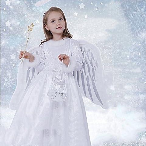Halloween kostüm Cosplay Kostüm Kinder Mädchen, Engel mit Flügeln flauschige Princess Dress (Baumwolle), A, 5-6 Größe (110 cm)