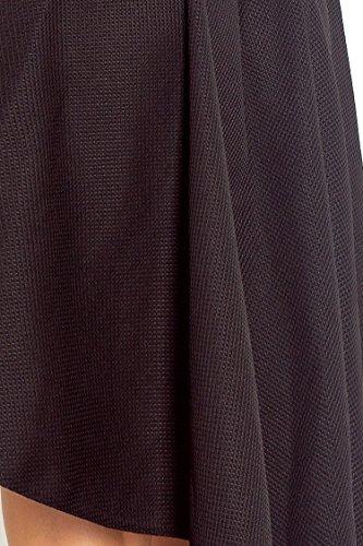 Capri Moda - Femme Midi Robe Trapèze ourlet asymétrique - sans manches - SF66 Noir
