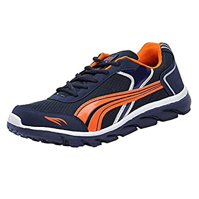 Columbus Men's Navy Blue and Orange Mesh Running Shoes (TB-5) - UK 10