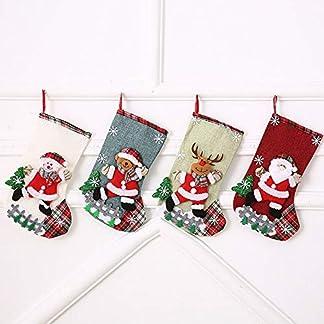 ysister 4 x Calcetin de Navidad, Calcetines Medias de Navidad Bolsa de Regalo para Navidad Colgantes del árbol Papá Noel muñeco de Nieve Renos decoración navideña – la decoración navideña