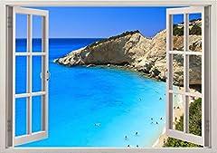 Idea Regalo - Decalcomania Gigante da Parete in 3D - Adesivo a Base di Colla Vinilica - Adesivi da Parete 3D Quadri con Finestre per Muro - Vinile di Arte Murale - 85 x 115 cm Poster Giganti baia dell'oceano