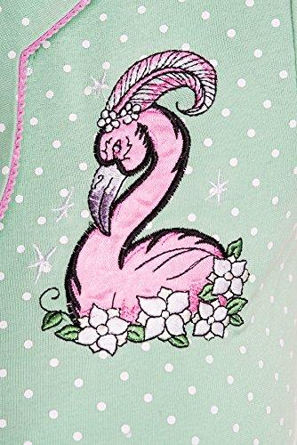 Hell Bunny NANCY Polka Dot FLAMINGO 50s Punkte SHIRT Rockabilly Mintfarben  mit weißen Dots / Pink