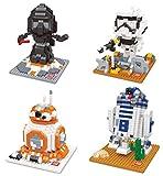 Wise Hawk Figuren aus Star Wars. Mini-Bausteinen Bausätze. Packung mit R2D2, BB-8, Darth Vader und Storm Trooper Kits.