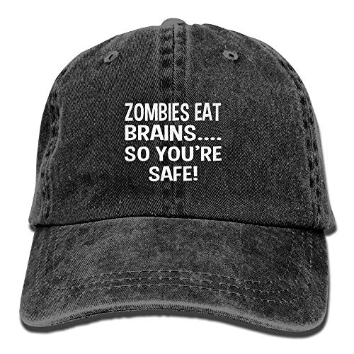 Hoswee Baseballmütze Hüte Kappe Zombies Eat Brains So You're Safe Plain Adjustable Cowboy Cap Denim Hat for Women and Men