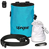 upAgear Chalk Bag – Escalada Bolsas de magnesio con Balón de magnesia - Incluye todo para comenzar ese ascenso – Chalk Ball Magnesio, Cinturón, mosquetón, bolsillo grande - perfecto para Bouldering, Gimnasia, levantamiento de pesas