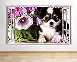 tekkdesigns F635Chihuahua Hund Blumen niedlichen Fenster Wand Aufkleber 3D Kunst Aufkleber Vinyl Raum