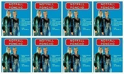 8xRegenponcho Regen Poncho mit Kaputze Notfallponcho transparent