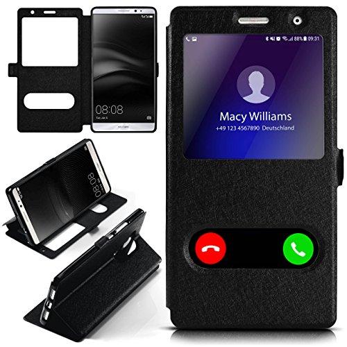 moex Huawei Mate 8 | Hülle mit Sicht-Fenster Schwarz Comfort Cover Stand-Funktion Schutzhülle Ultra-Slim Handyhülle für Huawei Mate 8 Case Flip Handy-Tasche