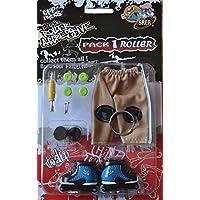 Grip&Tricks - Finger Roller Pack 1 - Mini Inline Skates - Model 22 - Blue and Black