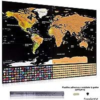 Carte Du Monde Gratter Dtaille Avec Drapeaux