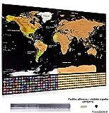 Mappa dettagliata del mondo da grattare, con bandiere, formato XXL, nera e dorata, 82,5x 59,4cm,regalo perfetto per viaggiatori,kit essenziale con feltrini adesivi e plettro per grattare