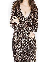 83e492e94c6 Wuxingqing Frauen tiefes V reizvoller Nachtclub-geometrische Pailletten  stickte Kleid dünnes dünnes Kleid (Color