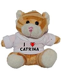 Gato marrón de peluche (llavero) con Amo Catrina en la camiseta (nombre de pila/apellido/apodo)