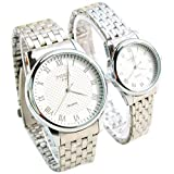 Scheppend Couple Bracelet de montre en acier inoxydable pour les amoureux, Blanc
