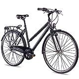 CHRISSON 28 Zoll Citybike Damen - City One schwarz 53 cm - Damenfahrrad mit 3 Gang Shimano Nexus Nabenschaltung - praktisches Cityfahrrad für Frauen