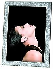 Idea Regalo - Mascagni M406 linea Silver Waves - Cornice per foto in metallo con lustrini, 25,4 x 20,3 cm