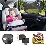 """PREMIUM bebé y niño coche parasol para Side window- Negro o Plata Coche Parasol Protector––Juego de 2bloques rayos ultravioleta–30Segundo instalar–Protección de su bebé, niño y Pet de Sun Glare y el calor, manteniendo Privacidad–44x 34cm/17x 13.5In.–Bonus """"On Board–Señal para coche ("""" infantil regalo ideal para las nuevas madres y Dads–Garantía de devolución de dinero"""