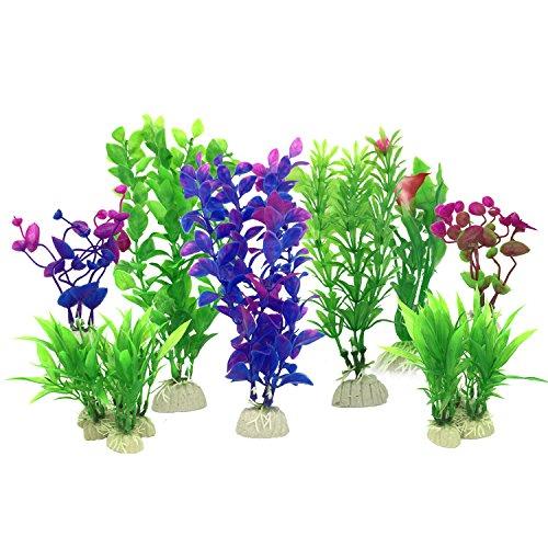 PietyPet Aquarium Wasserpflanzen, 16 Stück Klein Kunststoff Pflanzen Aquarium Aquariumpflanze Fisch Tank Dekoration, Lila und Grün (Grün Aquarium Dekoration)