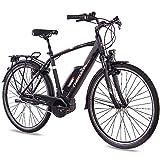 CHRISSON 28 Zoll Herren Trekking- und City-E-Bike - E-Rounder schwarz matt - Elektro Fahrrad Herren - 7 Gang Shimano Nexus Nabenschaltung - Pedelec mit Bosch Mittelmotor Active Line 250W, 40Nm