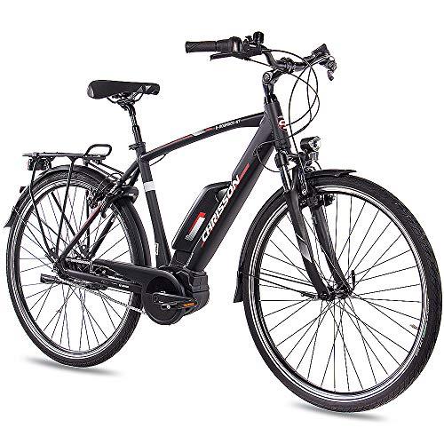 CHRISSON 28 Zoll E-Bike Pedelec Herrenrad E-Rounder 2019 mit 7G Nexus Bosch Active Line Gen3 40Nm 150km schwarz matt