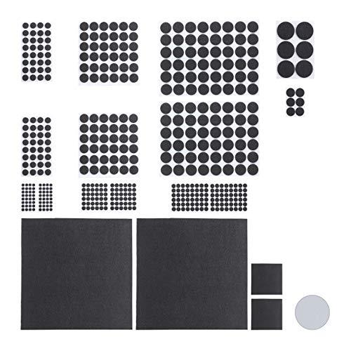 Relaxdays 480 x Filzgleiter, 4 Filzplatten zum Zuschneiden, Klebefilz, runde Möbelgleiter in versch. Größen, Bodengleiter, schwarz -