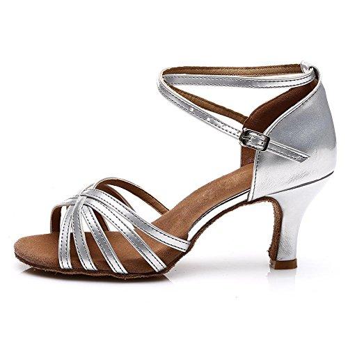 SWDZM Damen Ausgestelltes Tanzschuhe/Standard Latin Dance Schuhe Satin Ballsaal ModellD213-7 Silber EU38.5 - 2