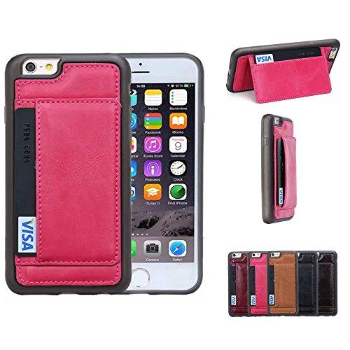 iPhone 6Cas, emplacements pour cartes Sac Téléphone Coque arrière de luxe en cuir PU Housse étui Rose rouge