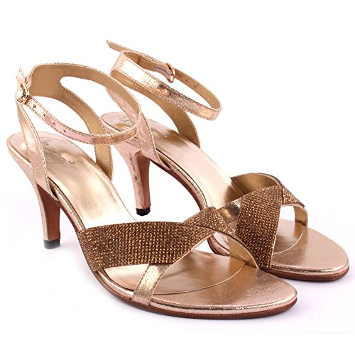 Unze Le nuove donne signore IMPULSE cristallo Impreziosito tacco basso del partito di sera di promenade di nozze Slingback Sandali Scarpa UK 3-8 Oro
