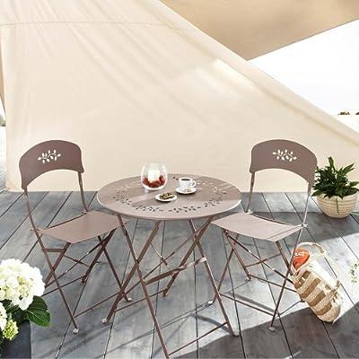 """Gartenmöbel-Set """"Sara"""" inklusive 2 Stühle und 1 Tisch aus Metall Taupe 3-teilig"""