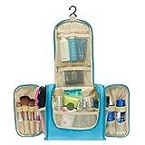 Colleer Multifunctional Travel Toiletry Bag Extra Large Makeup Organiser Waterproof Shower Wash Bag Cosmetic Case Household Grooming Kit Storage Travel Kit Pack with Hook(Blue)
