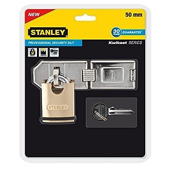 Stanley 81041361401 Cadenas protégé avec verrou de sécurité hautement résistant 40 mm Gris