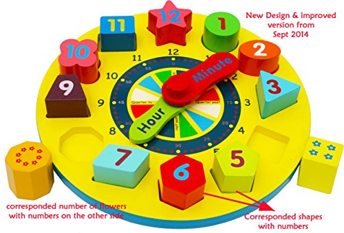 Toys of Wood Oxford Wooden Shape Sorting Clock-Wooden Teaching Clock with Numbers and Shapes Sorting Blocks