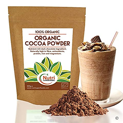 Organic COCOA POWDER Vegan Dark Chocolate Ingredient, Premium Quality, Unsweetened, Dairy free Superfood for Better Health, Delicious & Nutritious in Power Smoothies, Baking & Hot Chocolate (500g)
