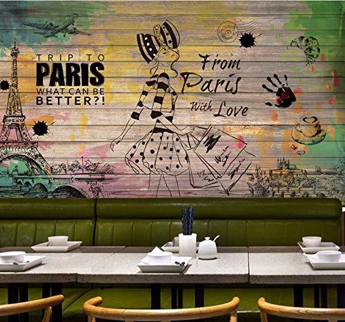 Wandbilder Benutzerdefinierte 3D Wallpaper Retro Hocker Nostalgische Mode Beauty Hintergrund Fototapete Restaurant Studio Bar Benutzerdefinierte Tapete-350X250Cm,wallpaper -